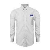 Mens White Oxford Long Sleeve Shirt-OLLU