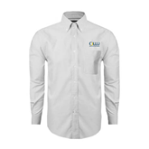 Mens White Oxford Long Sleeve Shirt-OLLU Our Lady of the Lake University Stacked