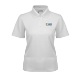 Ladies White Dry Mesh Polo-OLLU Our Lady of the Lake University Stacked