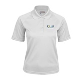 Ladies White Textured Saddle Shoulder Polo-OLLU Our Lady of the Lake University Stacked