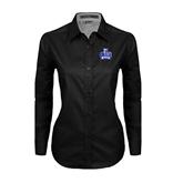 Ladies Black Twill Button Down Long Sleeve-OLLU Saints
