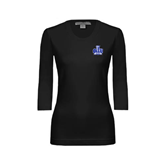 Ladies Black 3/4 Sleeve Scoop Neck-OLLU Saints