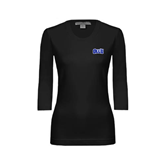 Ladies Black 3/4 Sleeve Scoop Neck-OLLU