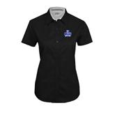 Ladies Black Twill Button Up Short Sleeve-OLLU Saints