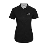 Ladies Black Twill Button Up Short Sleeve-OLLU Our Lady of the Lake University Stacked