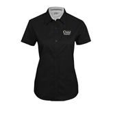 Ladies Black Twill Button Up Short Sleeve-The Woodlands