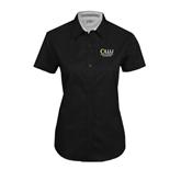 Ladies Black Twill Button Up Short Sleeve-Rio Grande Valley