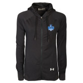 Ladies Under Armour Black Varsity Full Zip Hoodie-Track and Field