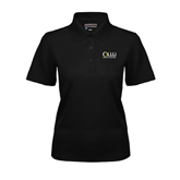 Ladies Black Dry Mesh Polo-OLLU Our Lady of the Lake University Stacked