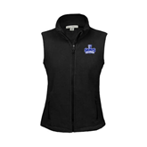 Ladies Fleece Full Zip Black Vest-Our Lady of the Lake University Athletics - Offical Logo