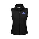 Ladies Fleece Full Zip Black Vest-Our Lady of the Lake University Athletics - Offical Logo
