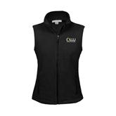 Ladies Fleece Full Zip Black Vest-OLLU Our Lady of the Lake University Stacked
