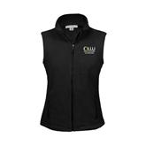 Ladies Fleece Full Zip Black Vest-The Woodlands