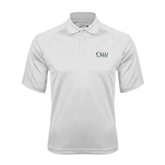 White Textured Saddle Shoulder Polo-OLLU Our Lady of the Lake University Stacked