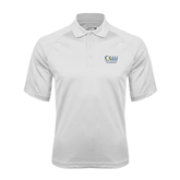 White Textured Saddle Shoulder Polo-The Woodlands