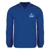 V Neck Royal Raglan Windshirt-Our Lady of the Lake University Athletics - Offical Logo