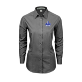 Ladies Grey Tonal Pattern Long Sleeve Shirt-OLLU Saints