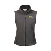Ladies Fleece Full Zip Charcoal Vest-OLLU Our Lady of the Lake University Stacked