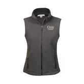 Ladies Fleece Full Zip Charcoal Vest-The Woodlands