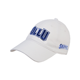 White Twill Unstructured Low Profile Hat-OLLU