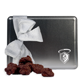 Decadent Chocolate Clusters Silver Large Tin-S in Shield w/ Halo Engraved