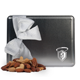 Deluxe Nut Medley Silver Large Tin-S in Shield w/ Halo Engraved