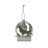 Pewter Sleigh Ornament-OUr Lady of the Lake University Flat Engraved