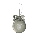 Silver Bulb Ornament-S in Shield w/ Halo Engraved