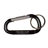 Black Carabiner with Split Ring-OUr Lady of the Lake University Flat Engraved