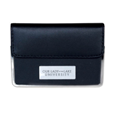 Leather Black Business Card Case-OUr Lady of the Lake University Flat Engraved