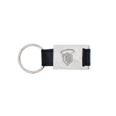 Leather Black Key Holder-S in Shield w/ Halo Engraved