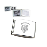 Silver Bifold Frame w/Calendar-S in Shield w/ Halo Engraved