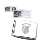 Silver Bifold Frame w/Calendar-S in Shield w/ Halo Engraved