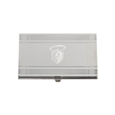 Crosshatch Silver Business Card Holder-S in Shield w/ Halo Engraved