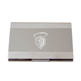 Dual Texture Silver Business Card Holder-S in Shield w/ Halo Engraved