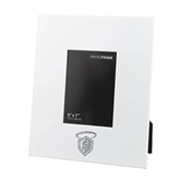 White Metal 5 x 7 Photo Frame-S in Shield w/ Halo Engraved