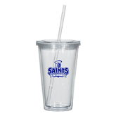 Madison Double Wall Clear Tumbler w/Straw 16oz-Our Lady of the Lake University Athletics - Offical Logo