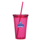 Madison Double Wall Pink Tumbler w/Straw 16oz-Our Lady of the Lake University Athletics - Offical Logo
