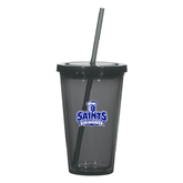 Madison Double Wall Charcoal Tumbler w/Straw 16oz-Our Lady of the Lake University Athletics - Offical Logo