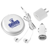 3 in 1 White Audio Travel Kit-Our Lady of the Lake University Athletics - Offical Logo