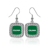 Crystal Studded Square Pendant Silver Dangle Earrings-Athletic Wordmark