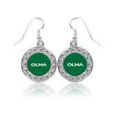 Crystal Studded Round Pendant Silver Dangle Earrings-Athletic Wordmark
