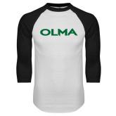 White/Black Raglan Baseball T Shirt-Athletic Wordmark