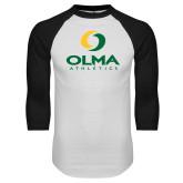 White/Black Raglan Baseball T Shirt-OLMA  Athletics