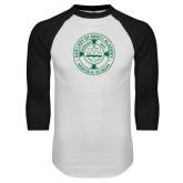 White/Black Raglan Baseball T Shirt-School Seal
