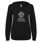 ENZA Ladies Black V Notch Raw Edge Fleece Hoodie-OLMA Alumnae