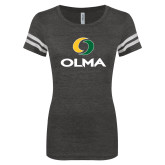 ENZA Ladies Black/White Vintage Football Tee-Primary  Athletic Mark