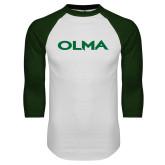 White/Dark Green Raglan Baseball T Shirt-Athletic Wordmark