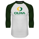 White/Dark Green Raglan Baseball T Shirt-OLMA  Athletics