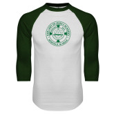 White/Dark Green Raglan Baseball T Shirt-School Seal